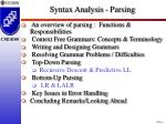 syntax analysis parsing
