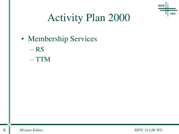 Activity Plan 2000
