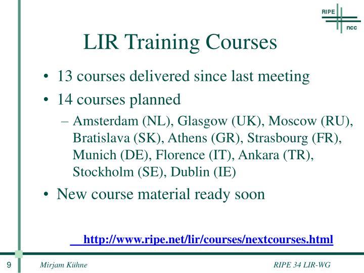 LIR Training Courses