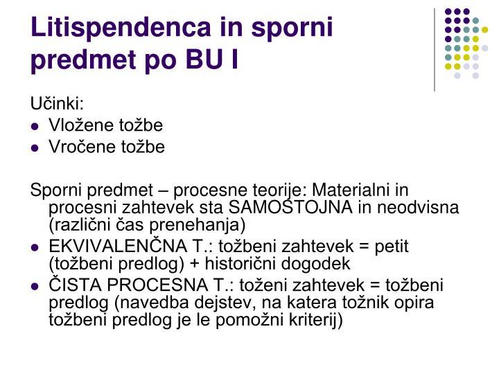 Litispendenca in sporni predmet po BU I