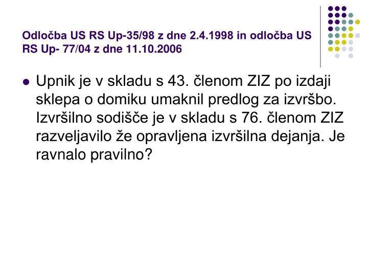Odločba US RS Up-35/98 z dne 2.4.1998 in odločba US RS