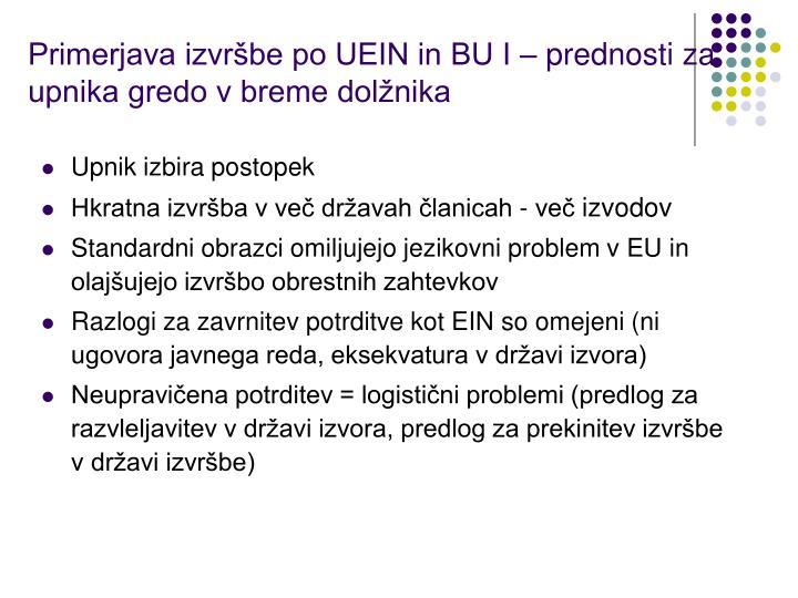 Primerjava izvršbe po UEIN in BU I – prednosti za upnika gredo v breme dolžnika