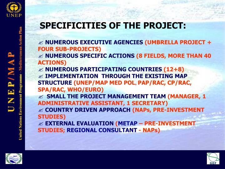 SPECIFICITIES OF THE PROJECT: