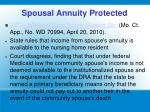 spousal annuity protected