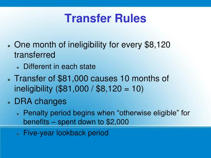 One month of ineligibility for every $8,120 transferred