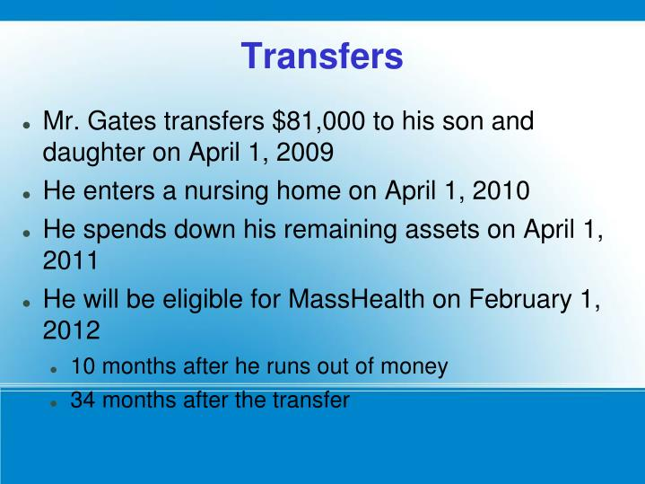 Mr. Gates transfers $81,000 to his son and daughter on April 1, 2009