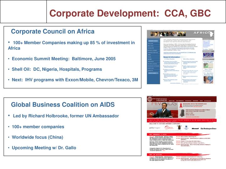 Corporate Development:  CCA, GBC