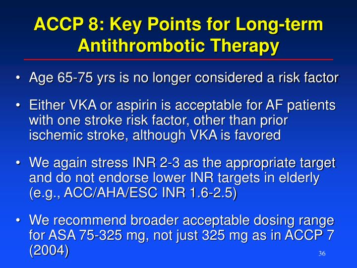 ACCP 8: Key Points for Long-term Antithrombotic Therapy
