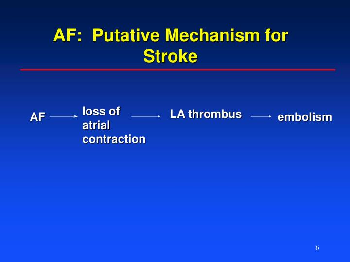 AF:  Putative Mechanism for Stroke