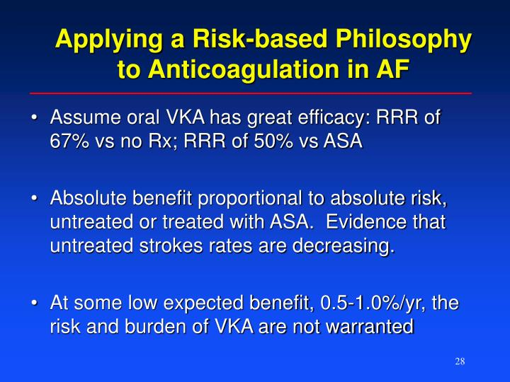 Applying a Risk-based Philosophy to Anticoagulation in AF