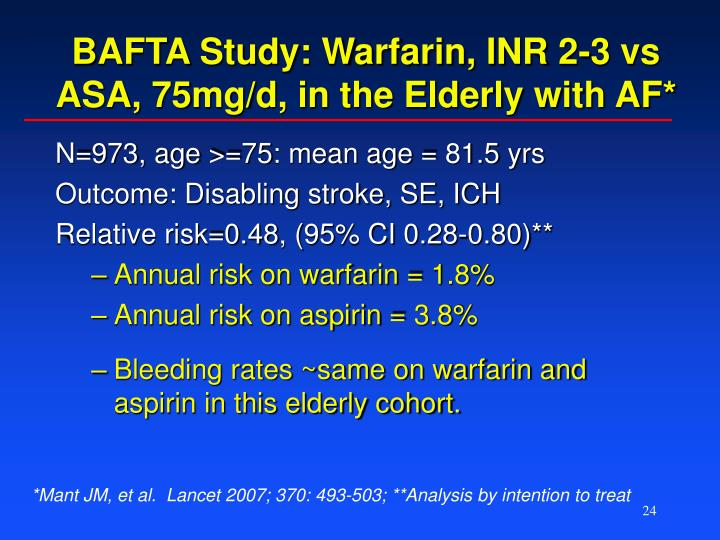 BAFTA Study: Warfarin, INR 2-3 vs ASA, 75mg/d, in the Elderly with AF*