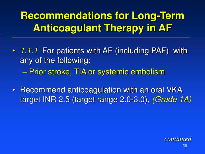Recommendations for Long-Term Anticoagulant Therapy in AF