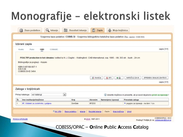 Monografije – elektronski listek