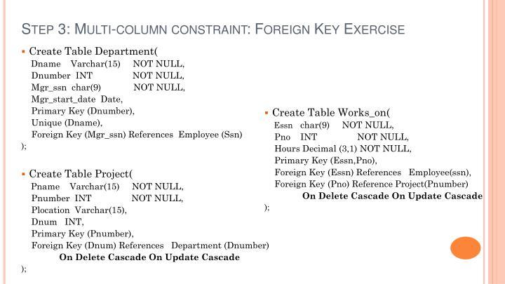 Step 3: Multi-column constraint: Foreign Key Exercise