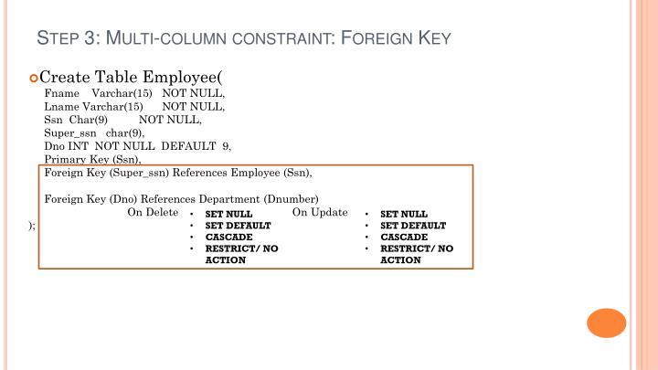 Step 3: Multi-column constraint: Foreign Key