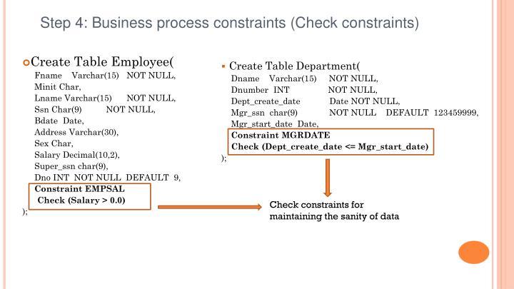 Step 4: Business process constraints (Check constraints)