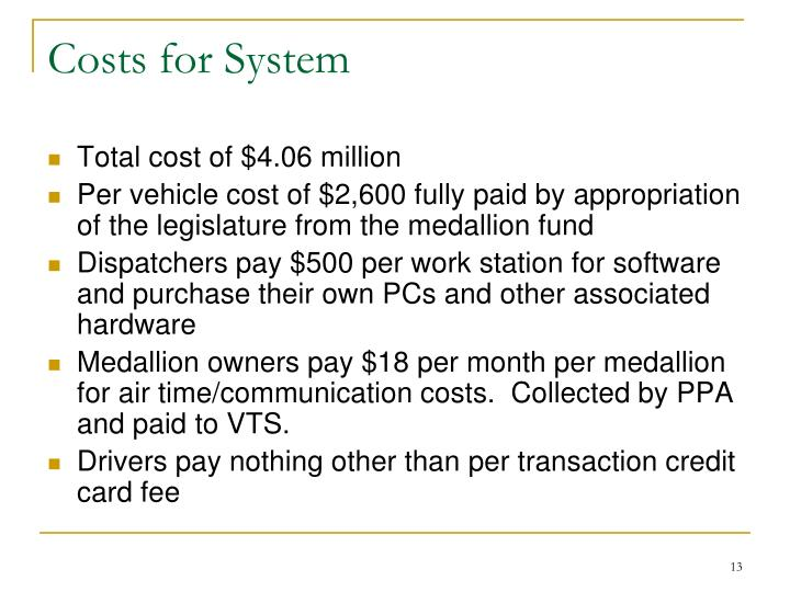 Costs for System