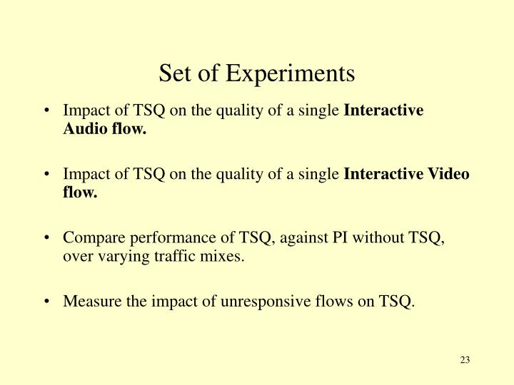 Set of Experiments