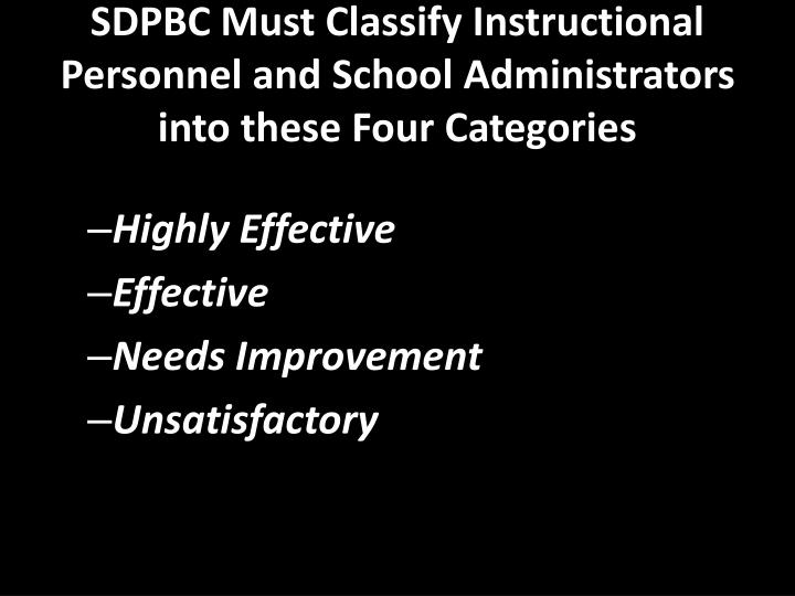SDPBC Must Classify Instructional Personnel and School Administrators