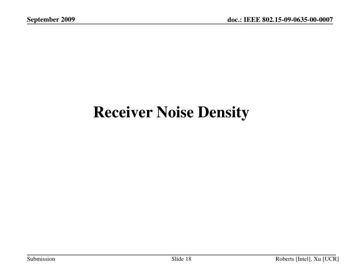 Receiver Noise Density