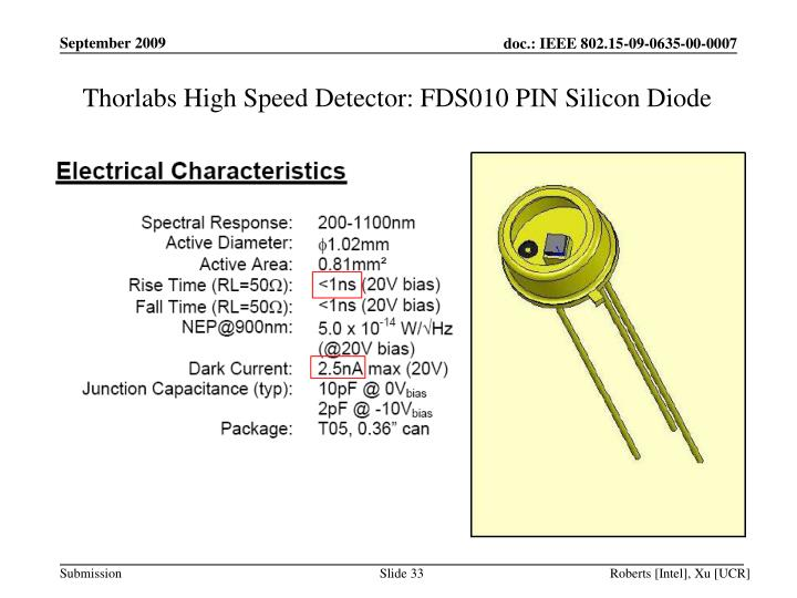 Thorlabs High Speed Detector: FDS010 PIN Silicon Diode