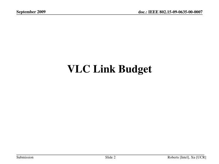 VLC Link Budget