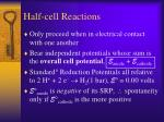 half cell reactions