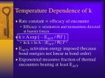 temperature dependence of k