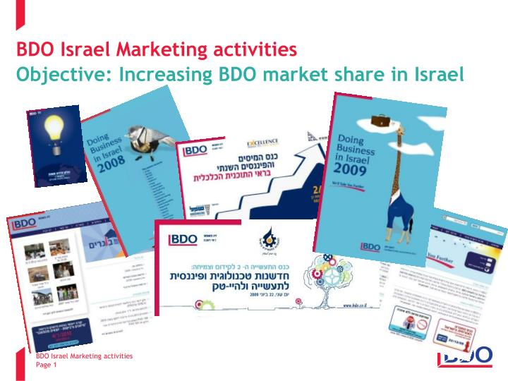 Bdo israel marketing activities objective increasing bdo market share in israel