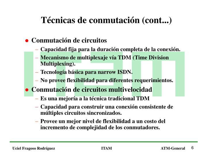 Técnicas de conmutación (cont...)