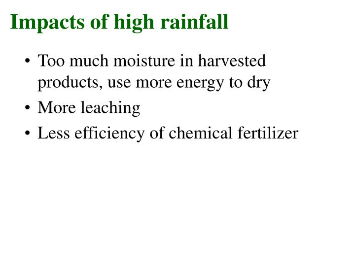 Impacts of high rainfall