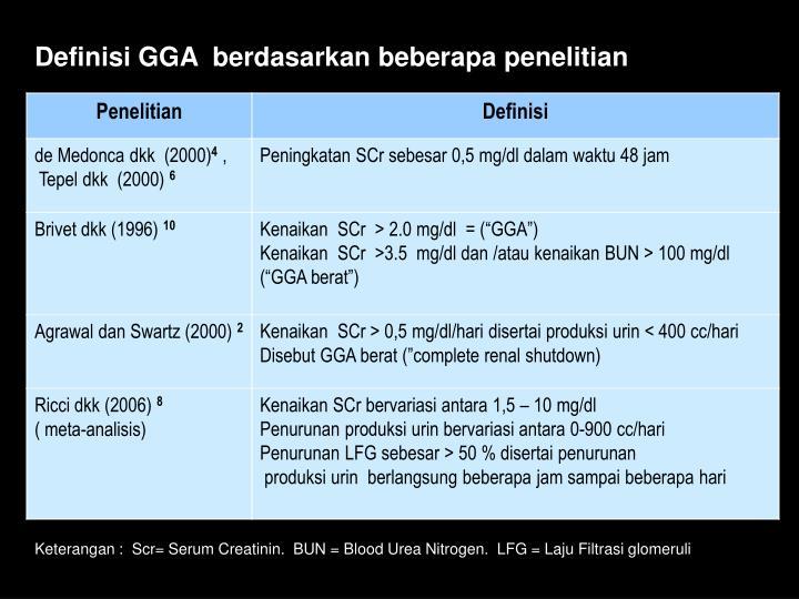 Definisi GGA  berdasarkan beberapa penelitian