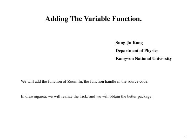 Adding The Variable Function.