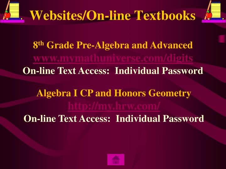 Websites/On-line Textbooks