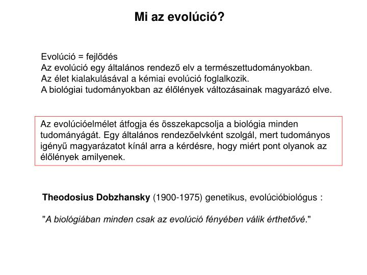 Mi az evolci?