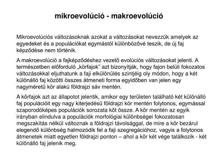 mikroevolci - makroevolci