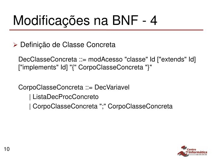 Modificações na BNF - 4