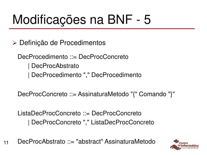 Modificações na BNF - 5