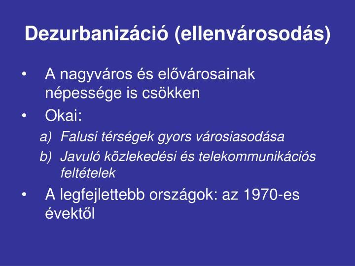 Dezurbanizáció (ellenvárosodás)