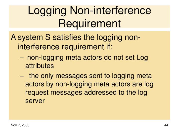 Logging Non-interference Requirement