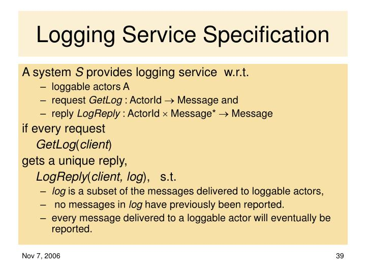Logging Service Specification