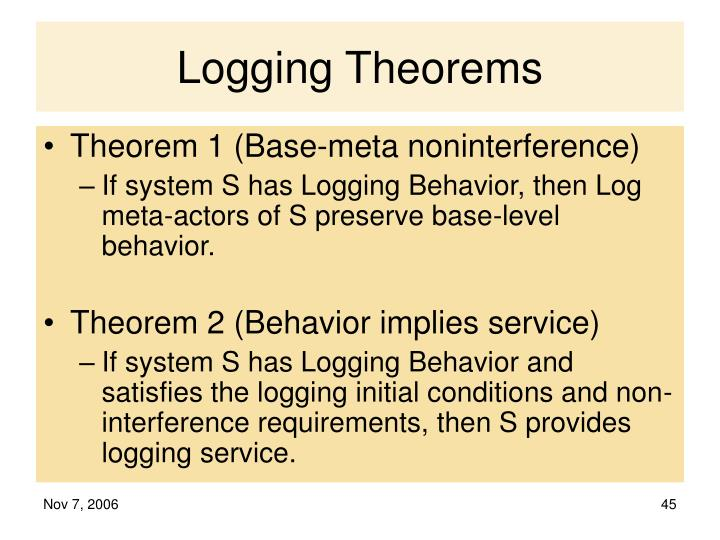 Logging Theorems