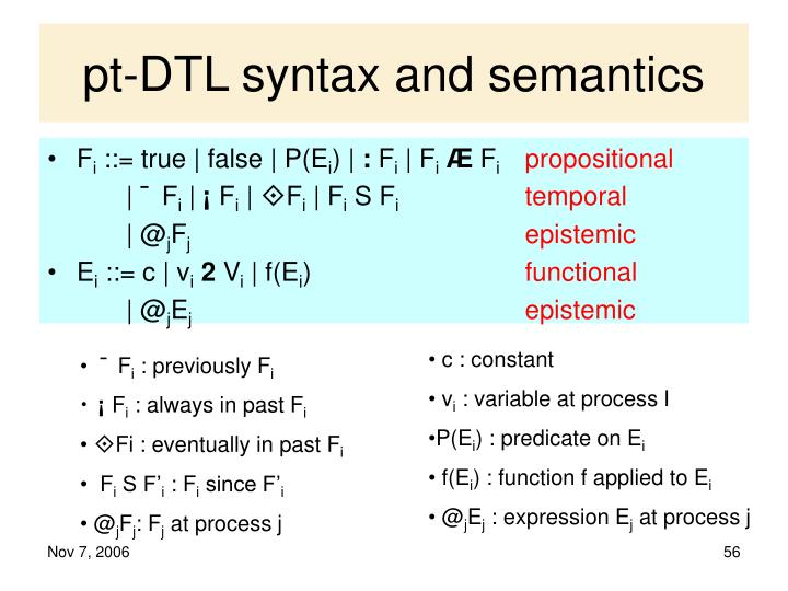 pt-DTL syntax and semantics