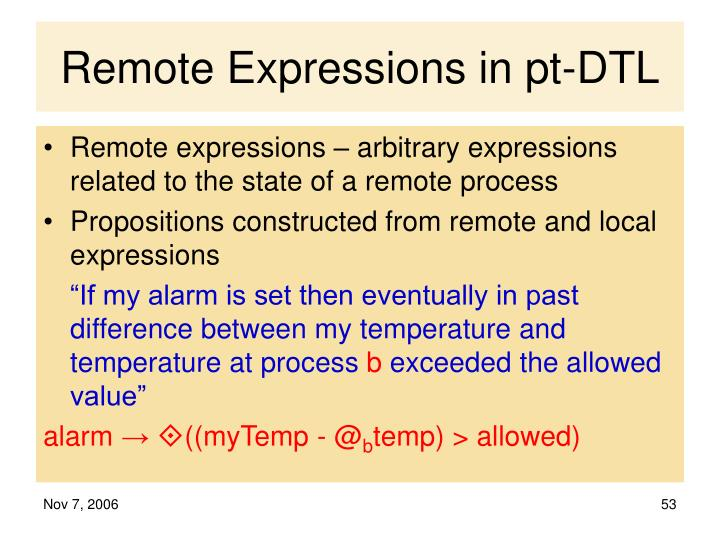Remote Expressions in pt-DTL