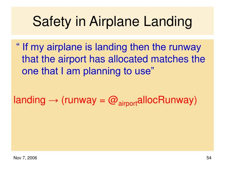 Safety in Airplane Landing