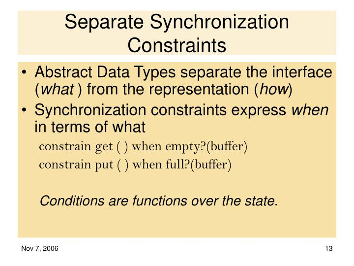 Separate Synchronization Constraints