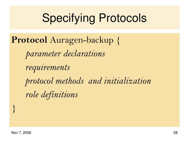 Specifying Protocols
