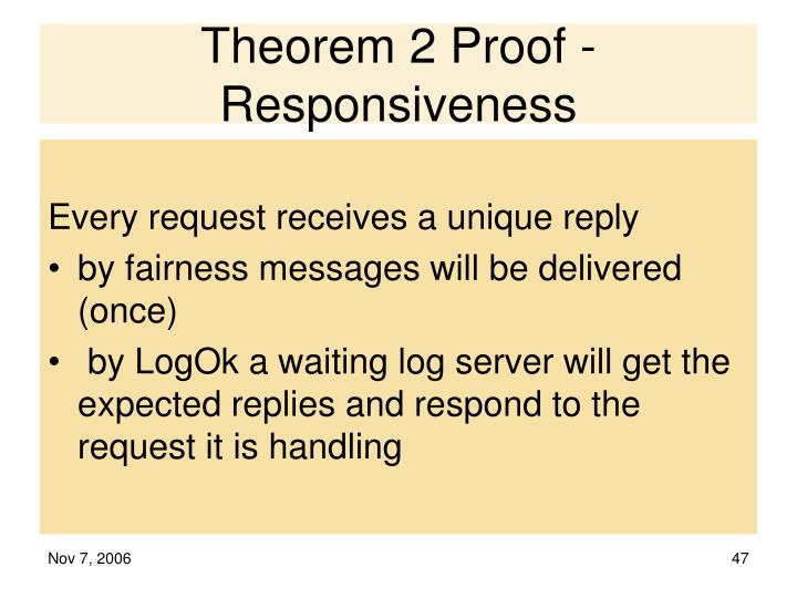 Theorem 2 Proof - Responsiveness