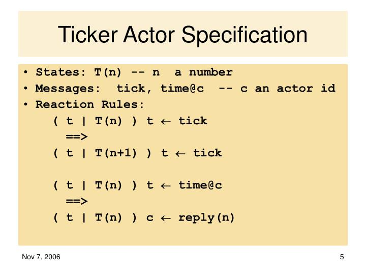 Ticker Actor Specification