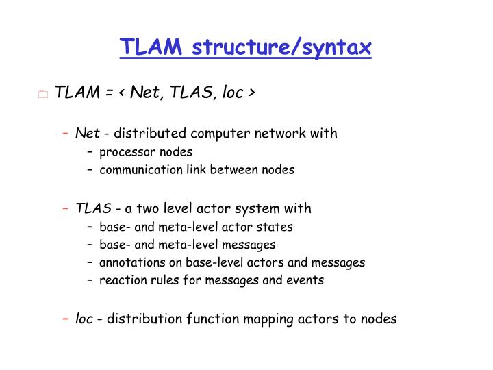 TLAM structure/syntax